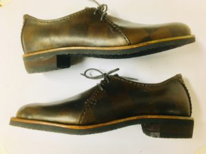 市松模様の革でシンプルな靴が完成!Yさん感激、16足目の靴作り!