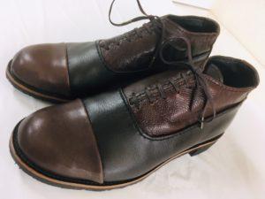 3種類の革を組み合わせたおしゃれな内羽根。皓多君の靴作り